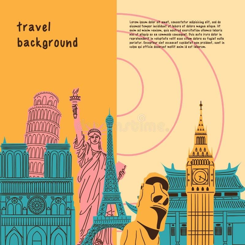 Ljus bakgrund med världen - brett berömt royaltyfri illustrationer