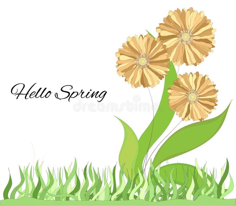 Ljus bakgrund med vårblommor Gladlynta gula blommor Enkel illustration för vektor för garnering, vykort, affisch, stock illustrationer