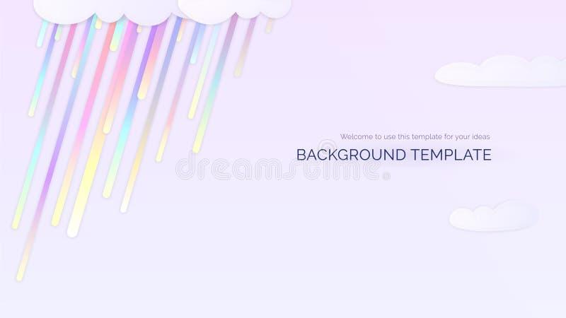 Ljus bakgrundsmall med för lutningregn för regnbåge färgrika droppar och moln vektor illustrationer