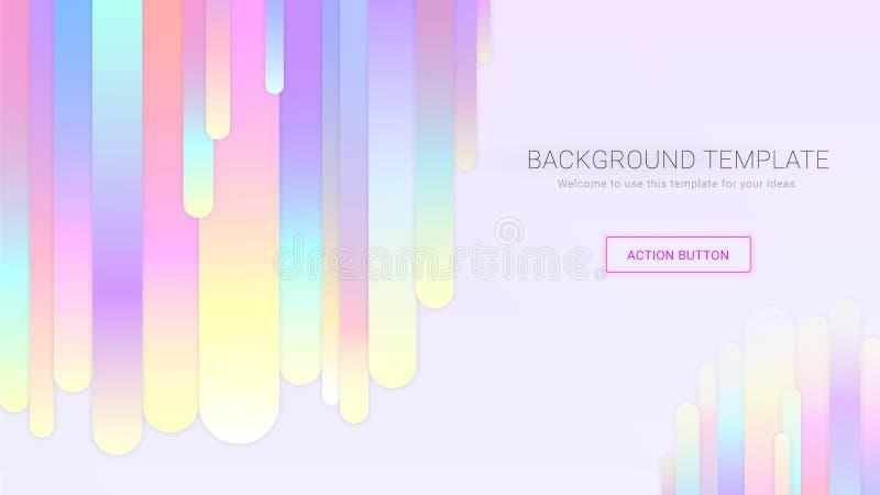 Ljus bakgrundsmall med runda kolonner för färgrik regnbågelutning stock illustrationer