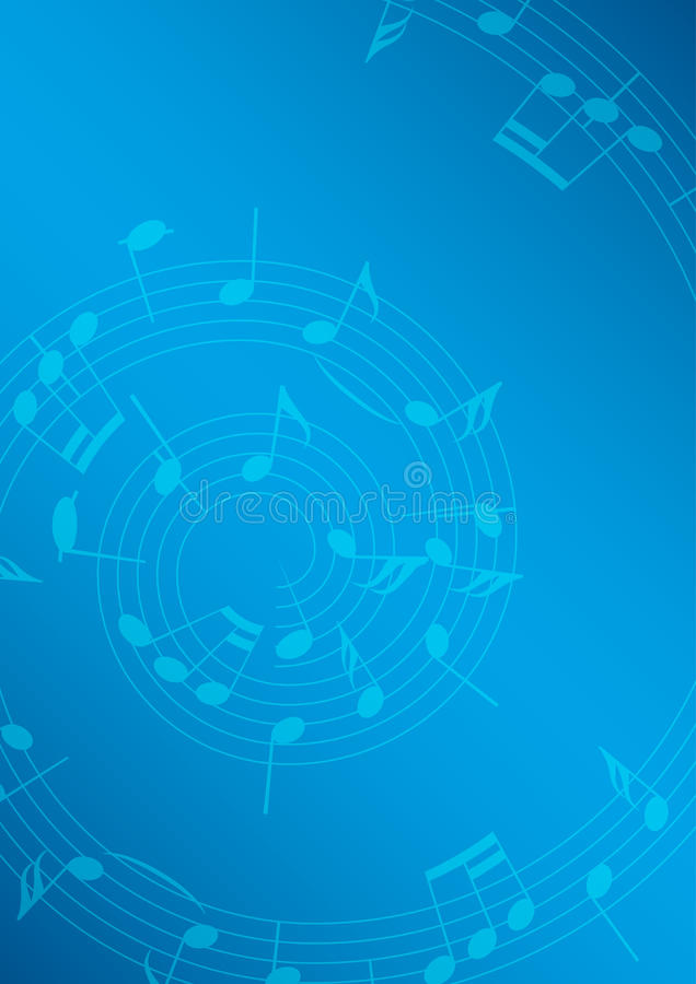 Ljus beige ljus musikbakgrund med anmärkningar - blått och spiral royaltyfri illustrationer