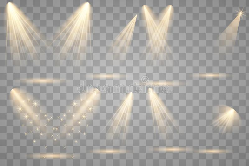 Ljus belysning med strålkastare stock illustrationer