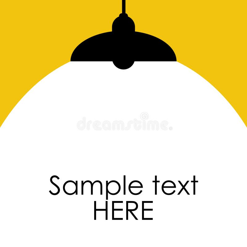Ljus belysning riktar uppmärksamheten på lampan med tomt utrymme för ditt text eller objekt ocks? vektor f?r coreldrawillustratio royaltyfri illustrationer