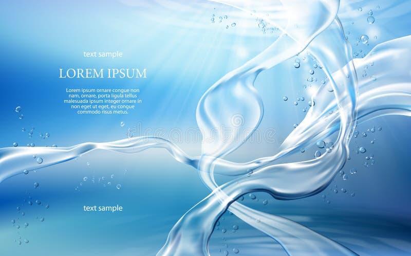 Ljus - blå bakgrund med flöden och droppar av kristallklart vatten vektor illustrationer