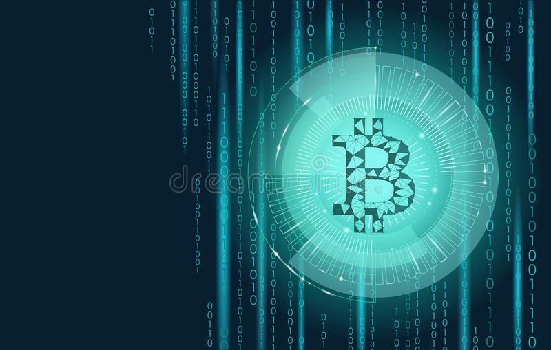 Ljus - blå bitcointeckencryptocurrency i hudmål System för blockchain låg poly geometrisk för finanse-kommers online-lön vektor illustrationer