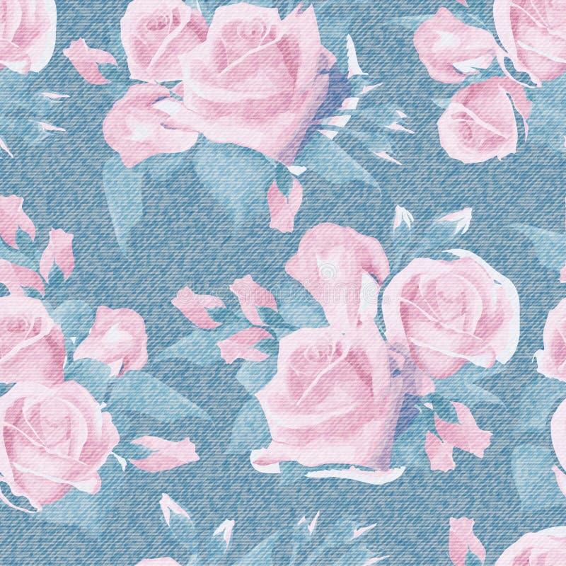 Ljus - blå grov bomullstvill med den färgrika blom- modellen Blom- sömlös bakgrund för härlig engelskaros Realistisk roshand vektor illustrationer