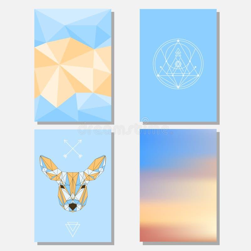 Ljus blå himmel och beiga färgade uppsättningen med geometriska hjortar och polygonal bakgrund för bruk i designen för kortet, af royaltyfri illustrationer