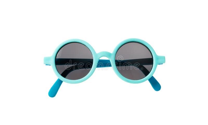 Ljus - blå ramsolglasögon som isoleras på vit bakgrund, bästa sikt arkivbild
