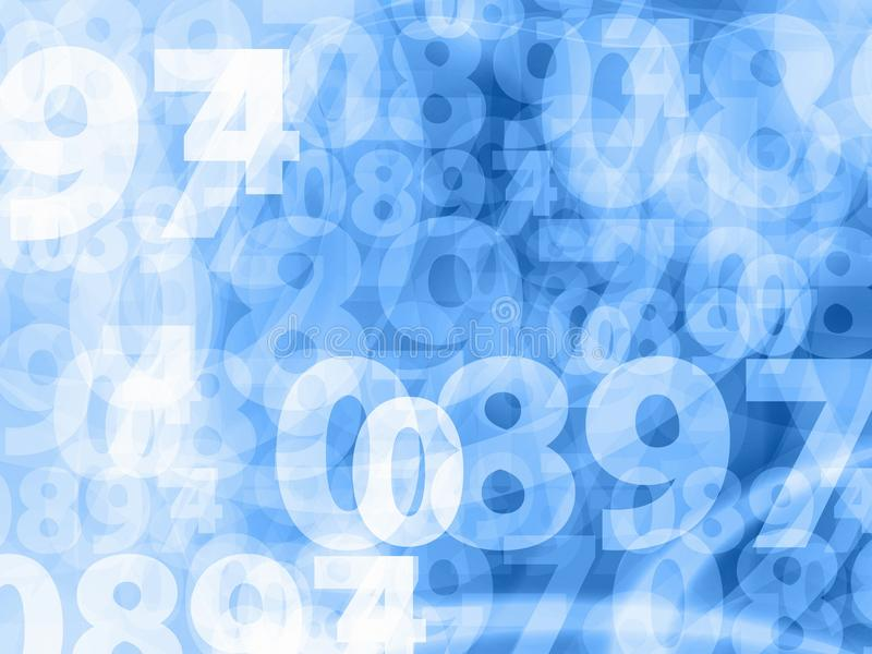 Ljus - blått numrerar bakgrundstextur royaltyfri illustrationer