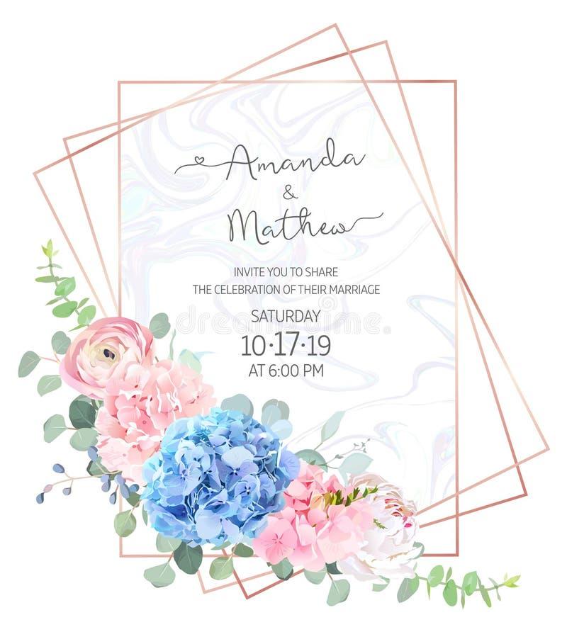 Ljus - blått- och rosa färgvanlig hortensia, vit pion, ranunculus, eucalypt stock illustrationer