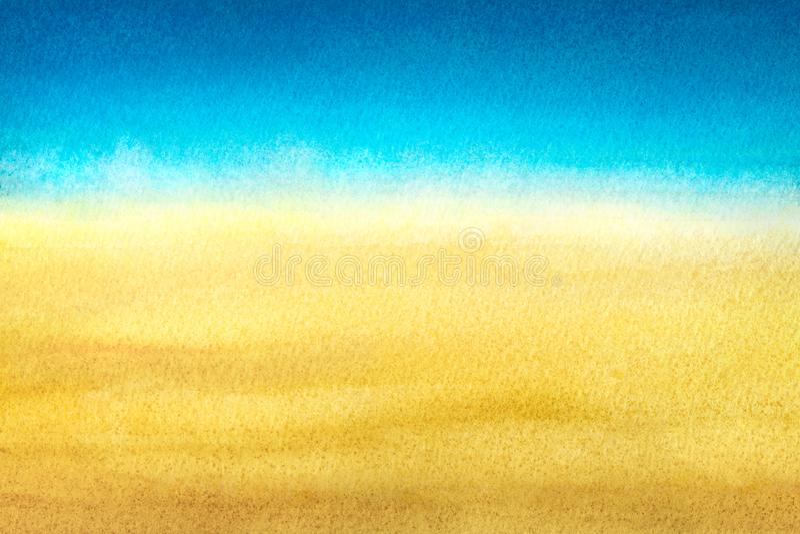 Ljus - blått som värme det abstrakta havet för guling och som sätter på land lutningen som målas i vattenfärg på ren vit bakgrund royaltyfri bild