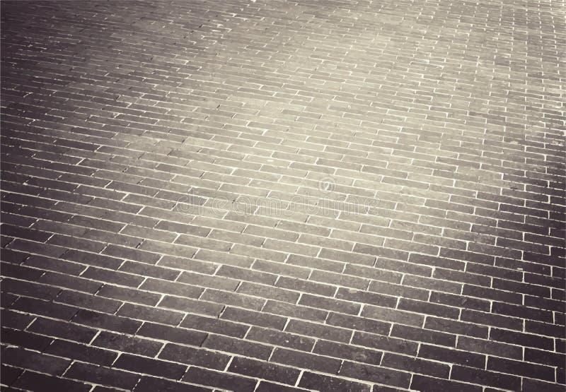 Ljus - brun väg för tegelstenstengata trottoar stock illustrationer