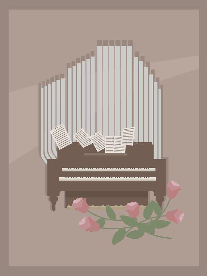 Ljus - brun vykort med brunt och grå färger för litet rumorgan trämed två tangentbord för händer, sidor med anmärkningar och rosa vektor illustrationer