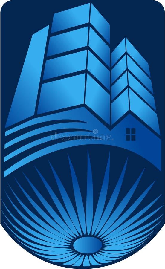 Ljus byggnadslogo royaltyfri illustrationer