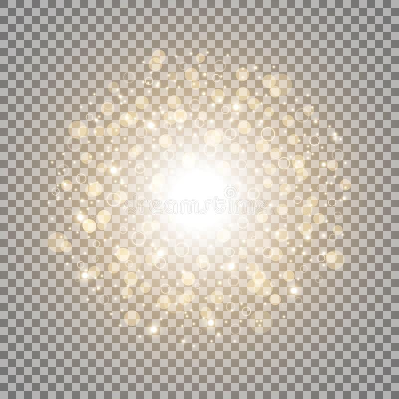 Ljus cirkel med dosts och gnistor, guld- färg stock illustrationer