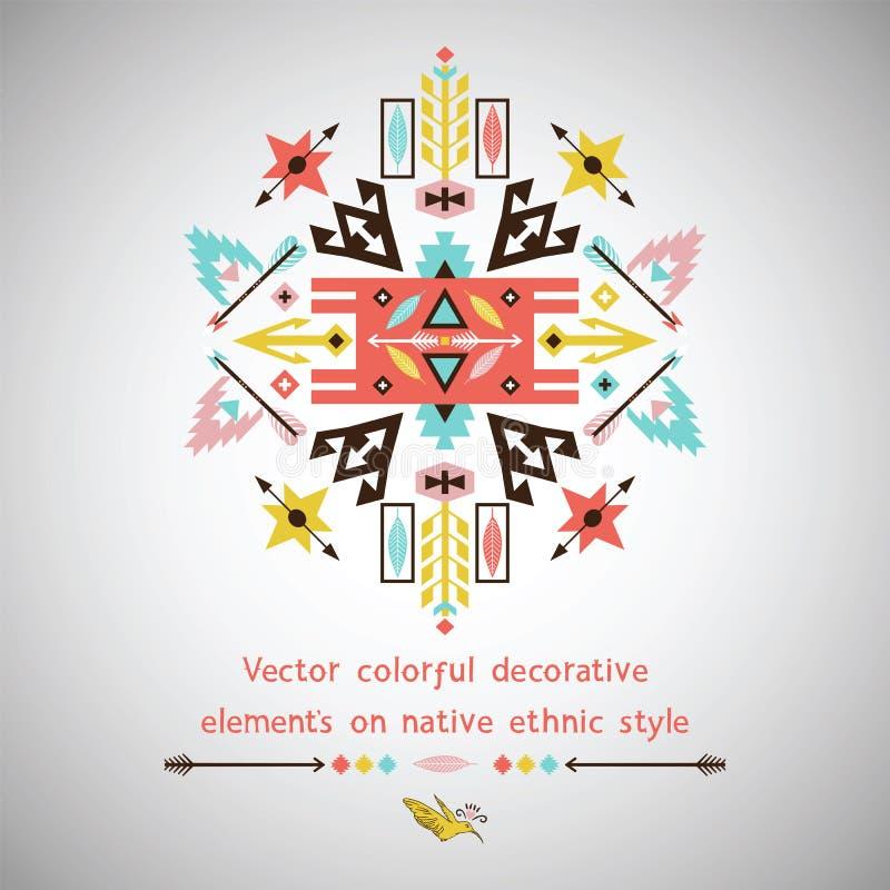 Ljus dekorativ beståndsdel för vektor på aztec stil royaltyfri illustrationer