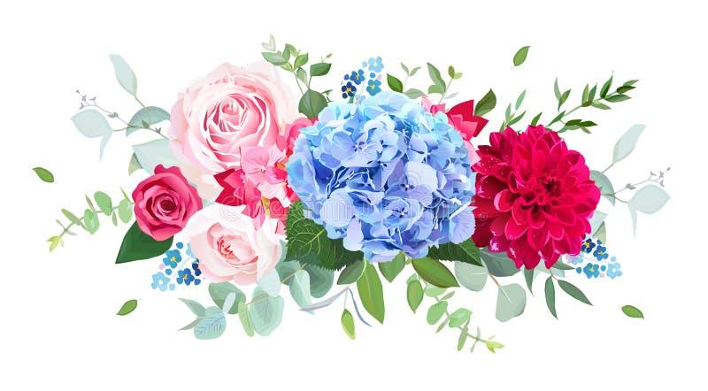Ljus - den blåa vanliga hortensian, rosa färgen, den röda rosen, den burgundy dahlian, glömmer mig stock illustrationer