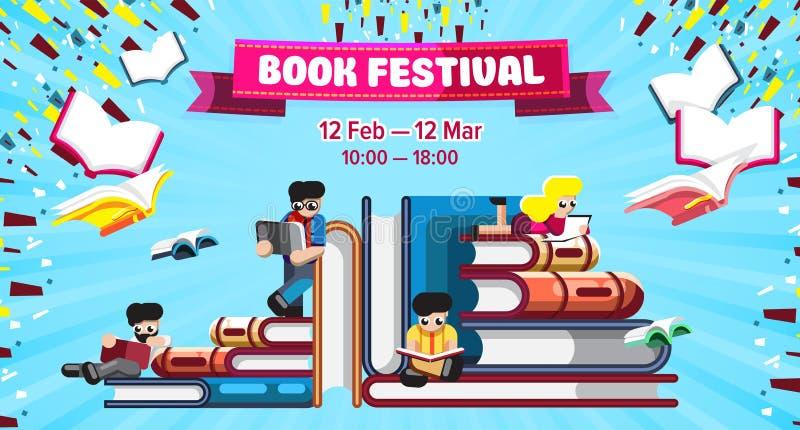 Ljus design av bokfestivalbefordran royaltyfri illustrationer