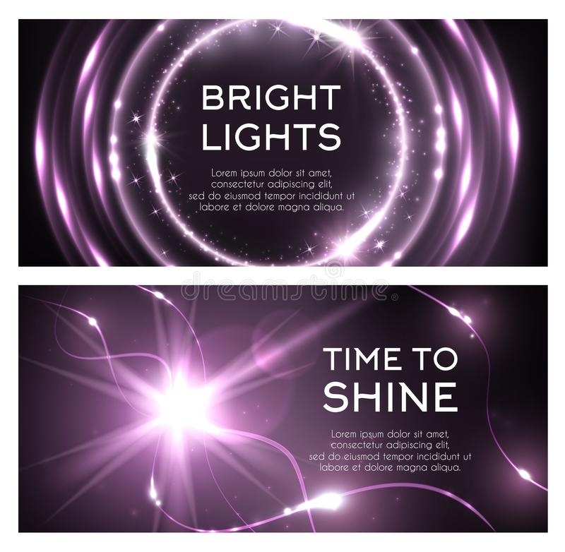 Ljus effekt av skenexponeringsstrålar brast vektorsymbolen royaltyfri illustrationer