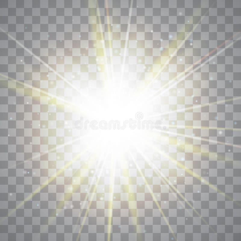 Ljus effekt för glöd guld- lampor också vektor för coreldrawillustration vektor illustrationer