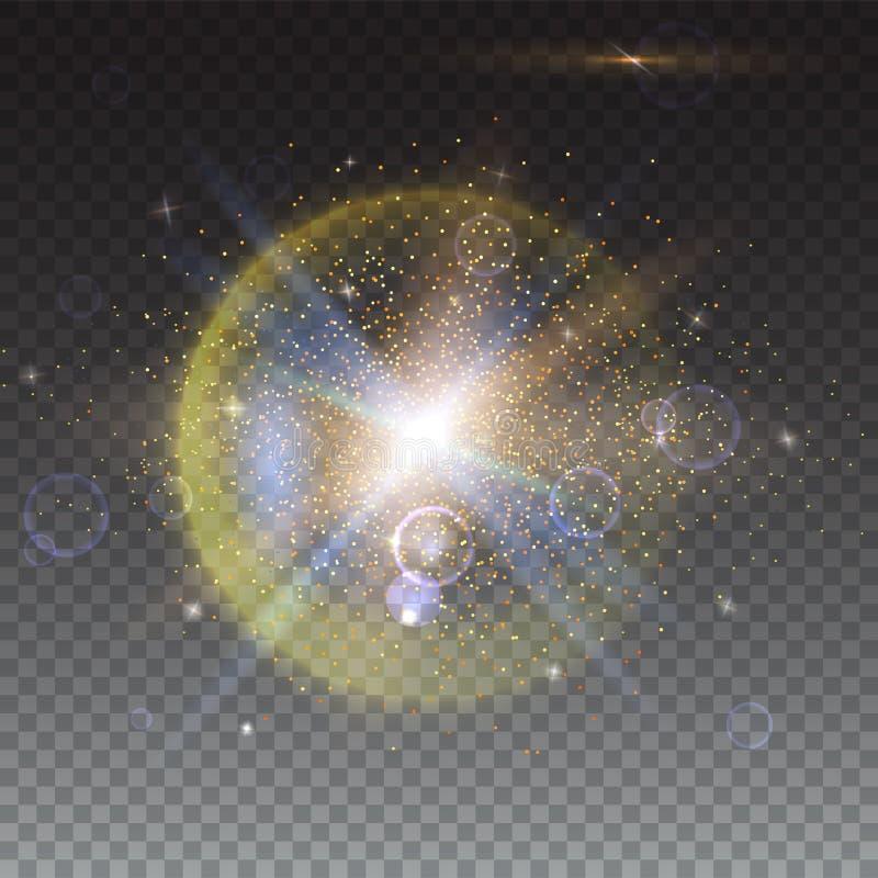 Ljus effekt för glöd och linssignalljusbakgrund Stjärnabristningen med mousserar Abstrakt ljus rörelsebakgrund Dynamiskt digitalt stock illustrationer