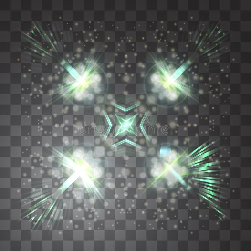 Ljus effekt för glöd också vektor för coreldrawillustration Jul exponerar begrepp Magiskt ljus i himlen arkivbild