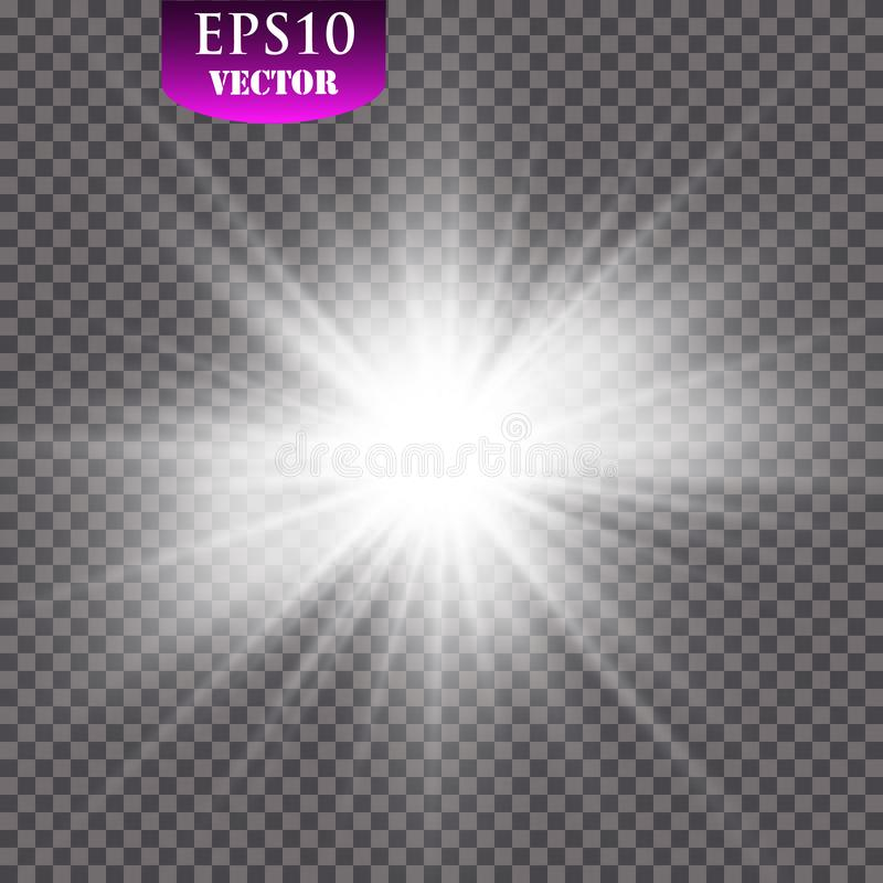 Ljus effekt för glöd Starburst med mousserar på genomskinlig bakgrund också vektor för coreldrawillustration sun royaltyfri illustrationer