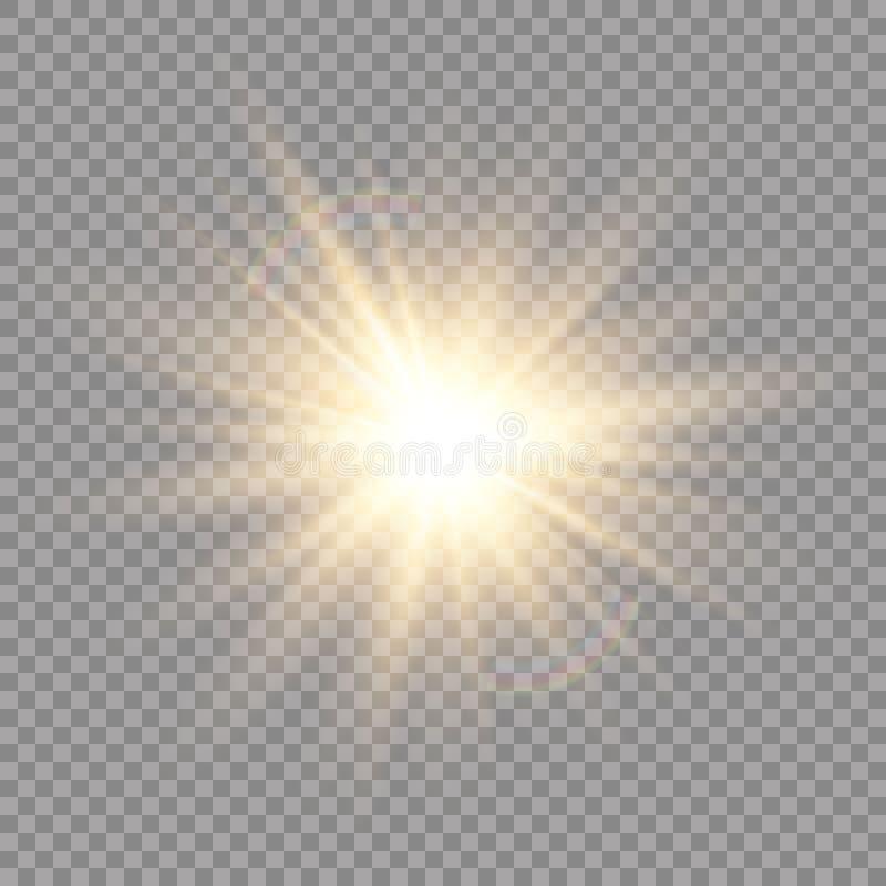 Ljus effekt för glöd Stjärnabristningen med mousserar sun också vektor för coreldrawillustration royaltyfri illustrationer
