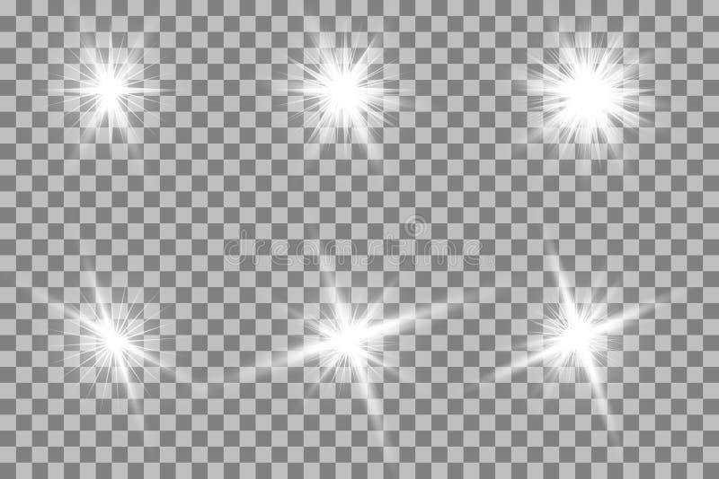 Ljus effekt för glöd Stjärnabristningen med mousserar sun stock illustrationer