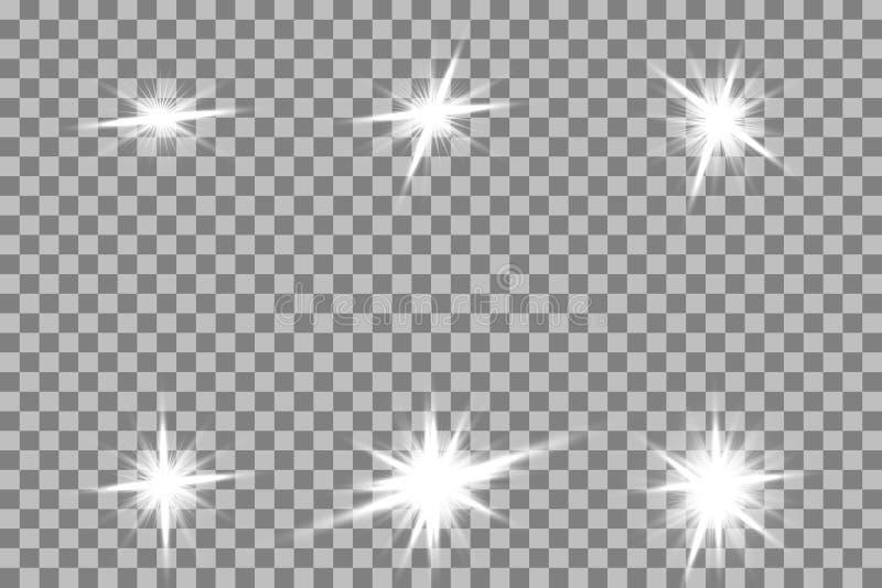 Ljus effekt för glöd Stjärnabristningen med mousserar sun royaltyfri illustrationer