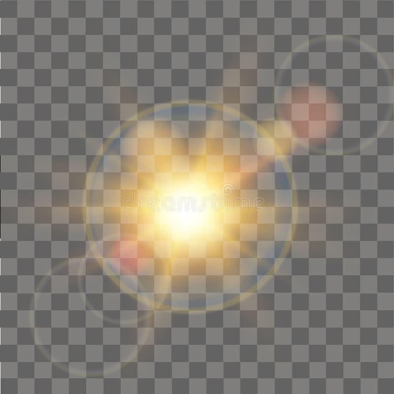 Ljus effekt för glödsol Abstrakt effekt av belysningsignalljuset vektor vektor illustrationer