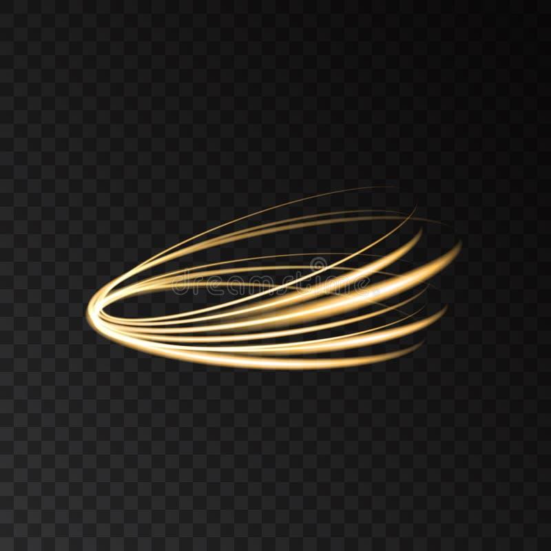 Ljus effekt för guld- för neoncirkelvirvel spår för slinga stock illustrationer