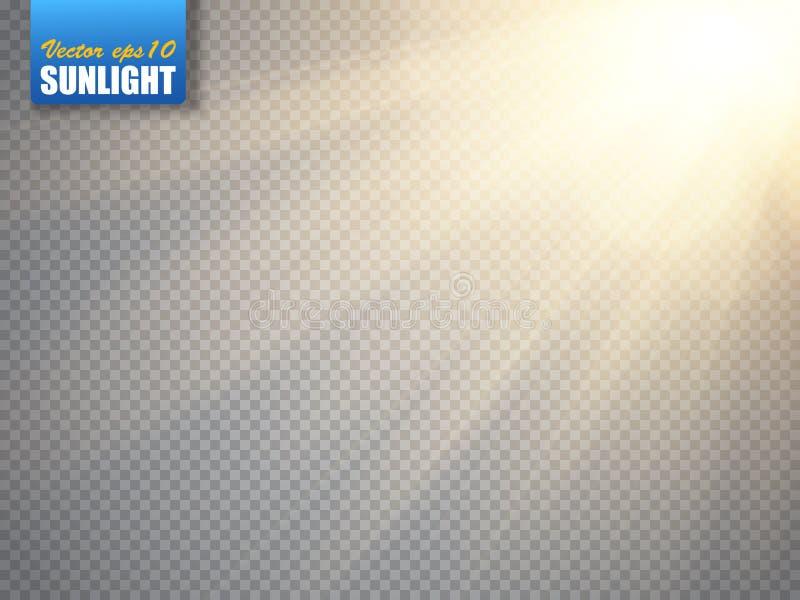 Ljus effekt för Lens signalljus Solstrålar med isolerade strålar vektor royaltyfri illustrationer