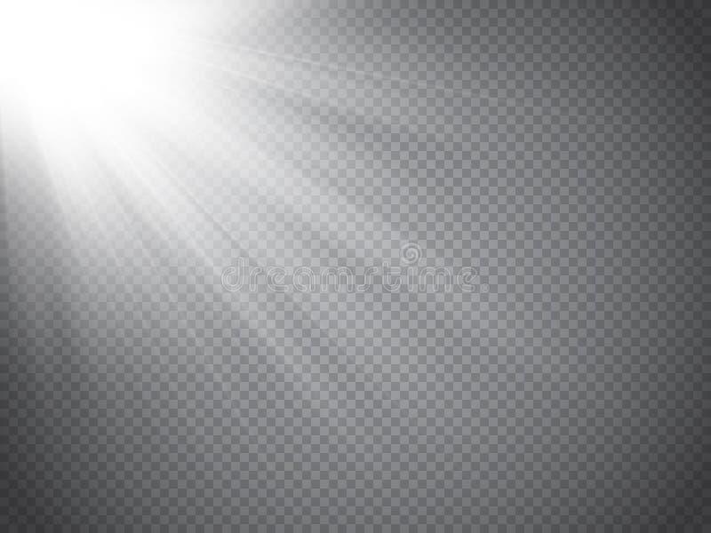 Ljus effekt för Lens signalljus Solstrålar med isolerade strålar vektor stock illustrationer