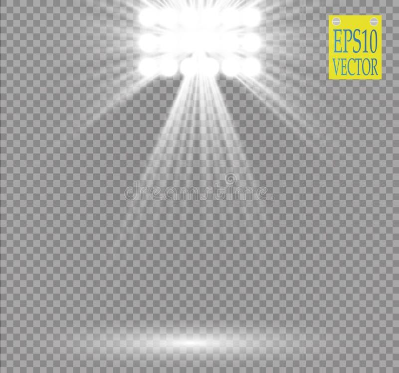 Ljus effekt för vit vektorstrålkastare på genomskinlig bakgrund Avtala platsen med gnistor som är upplysta vid glödstrålen royaltyfri illustrationer