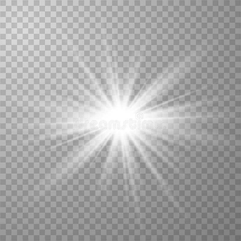 Ljus effekt f?r vitt gl?d vektor illustrationer