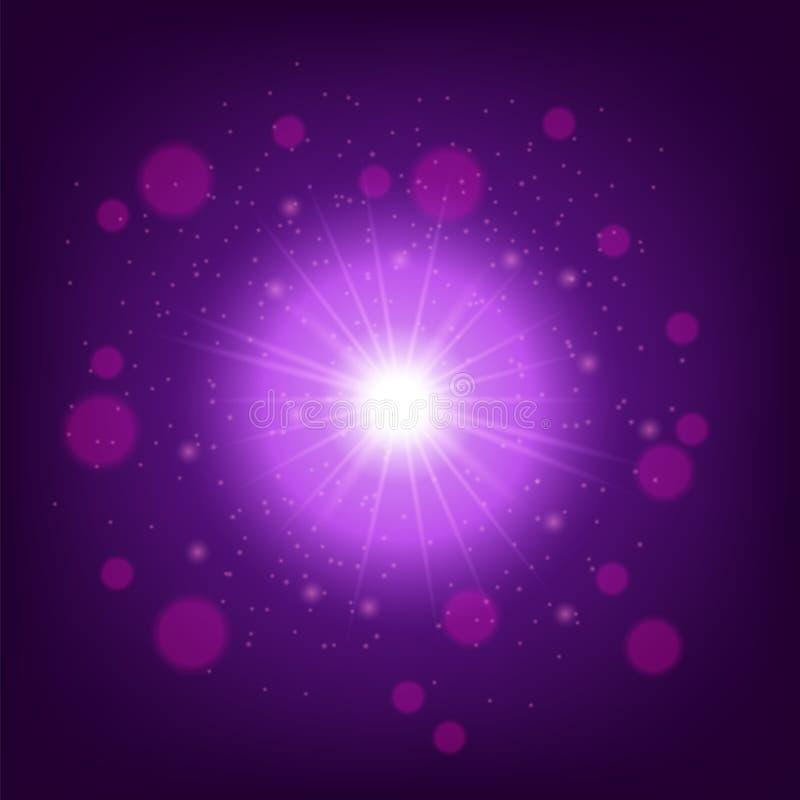 Ljus effekt på rosa bakgrund Stjärnabristningen med mousserar stock illustrationer