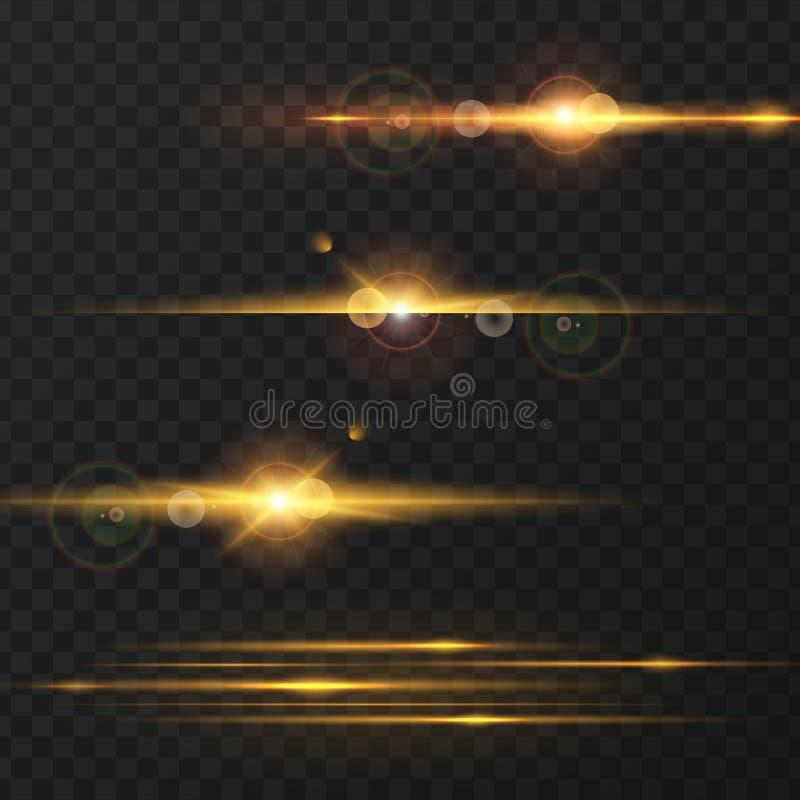 Ljus effekt, signalljus som tänder vektor illustrationer