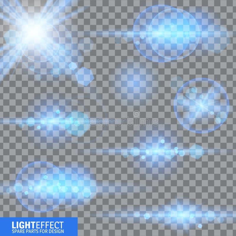 Ljus effekt, signalljus som tänder Reservdelar för illustration vektor illustrationer