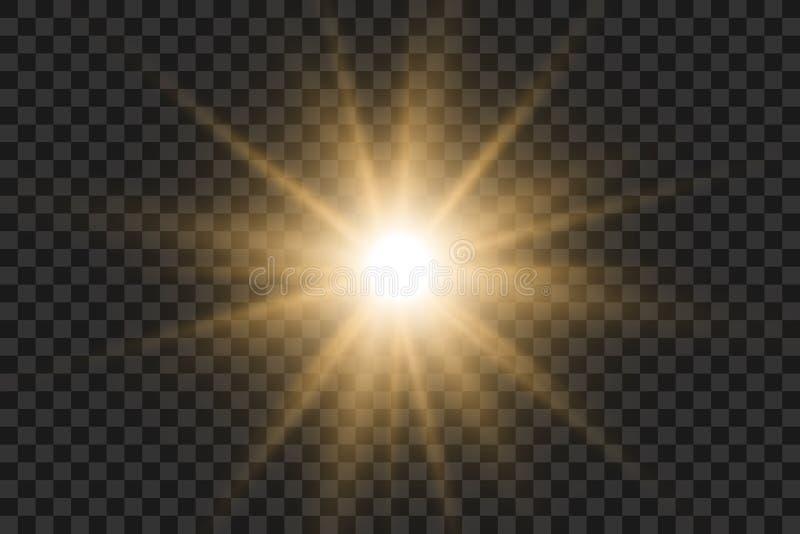 Ljus effekt Stjärnabristningen med mousserar Guld- blänka texturerar EPS10 royaltyfri illustrationer