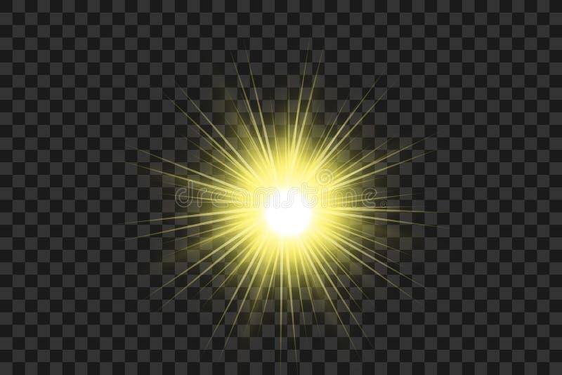 Ljus effekt Stjärnabristningen med mousserar Guld- blänka texturerar EPS10 stock illustrationer