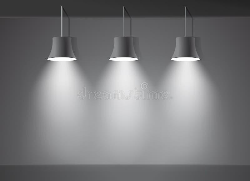 Ljus etapp för mörk vägg med vektorn för tre fläckljus stock illustrationer