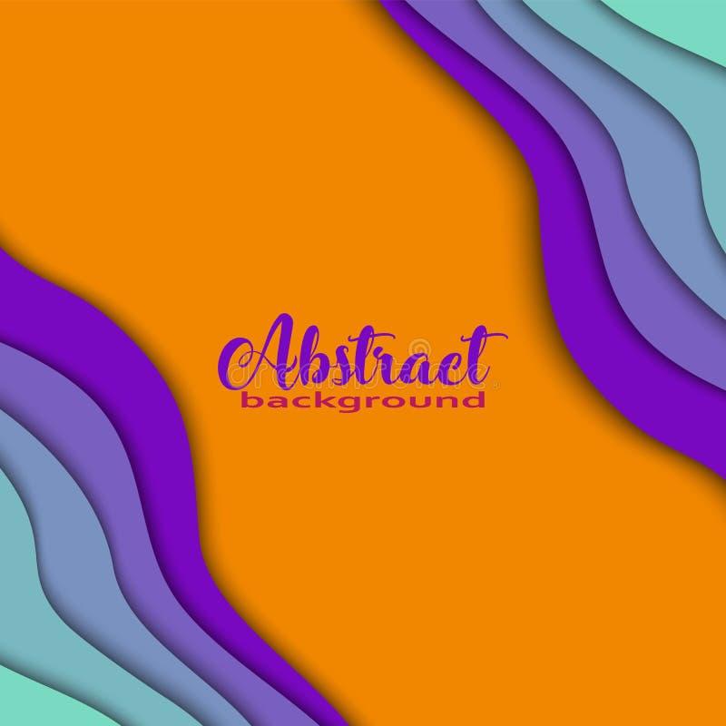 Ljus färgrik bakgrund för abstrakt begrepp 3D med papperssnittet formar Moderiktiga färger, våg, regnbåge, ram, fyrkant Illustrat royaltyfri illustrationer