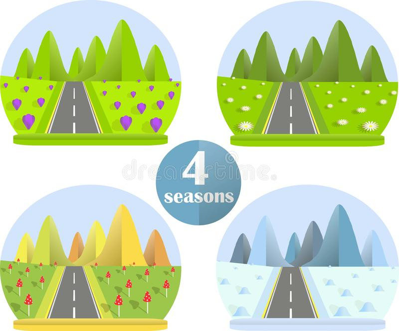Ljus färgrik bild för plan designuppsättning fyra säsonger i berget, grå väg, violett krokus, vita tusenskönor vektor illustrationer