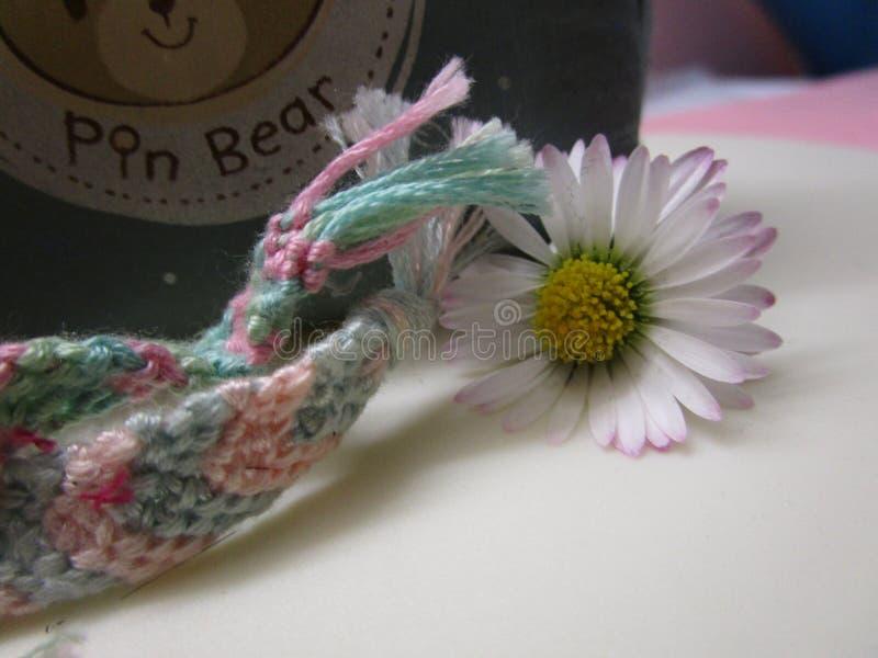 Ljus färgrik blomma för gemensam tusensköna med handgjorda kamratskapmusikband tätt upp arkivbild