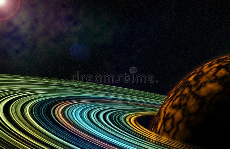 Ljus färgrik cirkel för kosmos med planetillustrationen stock illustrationer