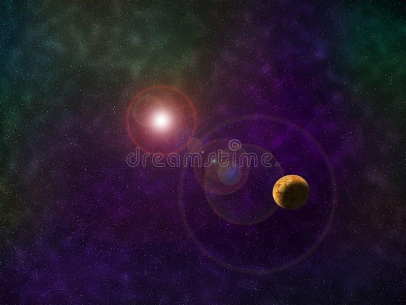 Ljus färgrik kosmosillustration för kosmos med planeten vektor illustrationer