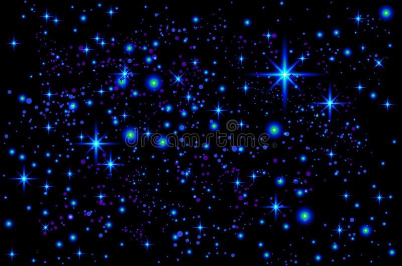 Ljus färgrik kosmosillustration för vektor Abstrakt kosmisk bakgrund med stjärnor vektor illustrationer