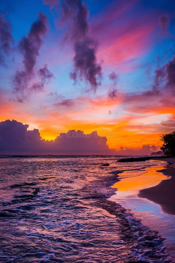 Ljus färgrik molnig himmel över den lösa stranden på solnedgången royaltyfri foto