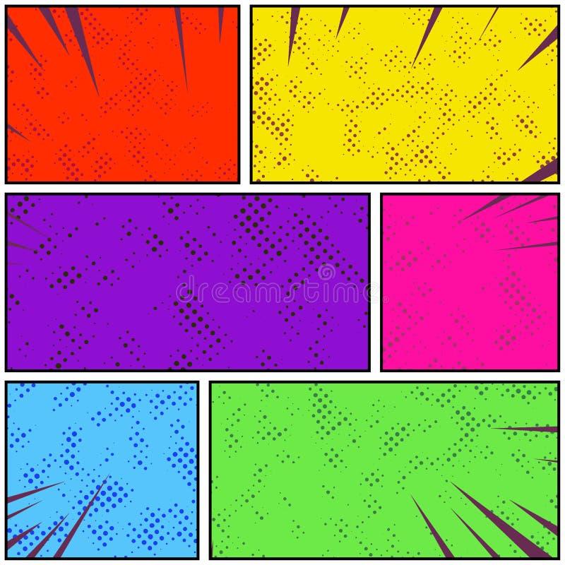 Ljus färgrik retro remsa för sida för stilpopkonst komisk Abstrakt D vektor illustrationer